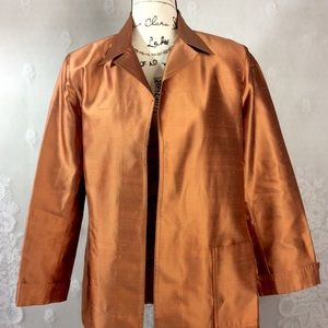 Vintage Lane Davis Shiny Bronze Raw Silk Blazer L
